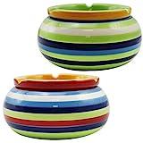 com-four® 2-teiliges Set Windaschenbecher aus feinster Dolomit Keramik, bunt gestreift, ca. 10 x 5 cm (002 Stück - Mix1)