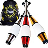 Juggle Dream Euro PRO Jonglierkeulen 3er-Set (Silber/Rot/Gold) Jonglier Keulen Training Set + Flames N Games Reisetasche! Große Keulenjonglage Set für Kinder & Erwachsene!