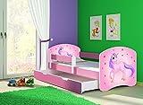 Clamaro 'Fantasia Pink' 180 x 80 Kinderbett Set inkl. Matratze, Lattenrost und mit Bettkasten Schublade, mit verstellbarem Rausfallschutz und Kantenschutzleisten, Design: 17 Einhorn