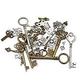 SJUNJIE 40 Stück Antike Vintage Schlüssel Anhänger Retro Steampunk Skelettschlüssel für Hochzeit Deko DIY Basteln Halskette Kette (Bronze & Silber)