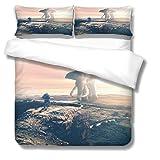 Bettbezug Hochebene, Elefant, Sonnenschein Bettwäscheset aus 3D-bedrucktem Polyester mit Zwei Umschlagkissenbezügen Lichtbeständige, hypoallergene, hochwertige 135x200 cm