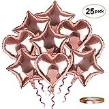 Folienballon Herz Stern Helium Folien Luftballons 25 Stück 45 cm Rosa Gold Hochzeit Große Ballons mit 10m Rosegold Band für Party Dekorationen Geburtstag Brautdusche Valentinstag Verlobung, Set 13