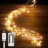 IDESION Led Lichterbündel, mit Fernbedienung, 1M Silberdraht Mirco Lichterkette Batteriebetrieb,8 Lichtmodi,Timer modus, Lichterdraht Copper LightDeko für Innen und Außen Warmweiß(100 Mikro Led)