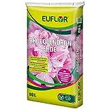 Euflor Rhododendron 60 L Erde für Moorbeetpflanzen mit niedrigem Ph-Wert, Reichhaltige Grunddüngung mit 12 Wochen Langzeitwirkung, zur Rivitaliserung geeignet
