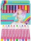Geschenke für Mädchen | Haarkreide-Set für kleine und große Mädchen | 10 x allergenfreie Haarfärbestifte | Auswaschbare temporäre Haarfarben