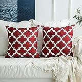 MIULEE 2er Pack LeinenHome Dekorative Kissenbezug Geometrisches Kissen Kissenhülle für Sofa Schlafzimmer Weinrot 18x18inch 45x45 cm