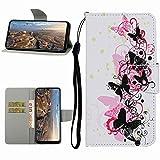 Miagon Hülle für Huawei Y5P,Handyhülle PU Leder Brieftasche Schutz Flip Case Wallet Cover Klapphüllen Tasche Etui mit Kartenfächern Stand,Schwarz Schmetterling