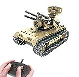 Modbrix Bausteine 2,4 Ghz RC Panzer Flakpanzer Ferngesteuert, Konstruktionsspielzeug mit 457 Bauteilen, kompatibel mit L*go Technik
