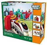 BRIO Bahn 33873 - Großes Smart Tech Reisezug Set mit Action Tunnels