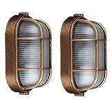 2er Pack Wandbeleuchtung Vintage Oval Gitter Lampe Wandlampe Wasserdicht Aluminiumguss Und Glas Aussenleuchte Retro E27 Landhaus Hoflampe Eingangs Außen-Deckenleuchte (Beinhaltet LED Birne)