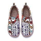 UIN La Pedrera Damen Gemalte Segeltuchschuhe Loafer Schuhe Slip On Schuhe Leicht Sneaker Schlupfschuh Canvas Weiß (35)