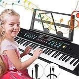 Magicfun Keyboard, Digital Piano 61 Tasten Keyboard Klavier mit Mikrofon Notenständer Netzteil Für Kinder, Geschenk Spielzeug ideal für Kinder und Einsteiger(Schwarz)