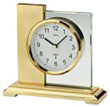 AMS Funk Tischuhr, Holz, Gold, 17 cm x 16 cm x 6 cm