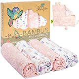 Superweiche Bambus Mullwindeln Mädchen Spucktücher Baby Mulltücher von Tabalino 80x80cm 4er-Pack mit Gratis Schmusetuch doppelt gewebt Stoffwindeln Moltontücher 30% Baumwolle (Paisley)