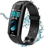 ELEGIANT Fitness Tracker Damen Herren, Fitness Armband Sportuhr, Fitnessuhr Zoll Farbbildschirm IP68, Echtzeit-Herzfrequenzmesser Schrittzähler Aktivitätstracker Pulsuhr, Anruf SMS für iOS Android
