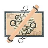 Buchenholz Nudelholz Einstellbares Teigroller, Fondant Rolling Pin Teigrolle mit Distanz-Scheiben in 5 Größen, Backmatte Silikon Backunterlage 60 x 40 cm Ausrollmatte Silikonmatte Teigunterlage Grau