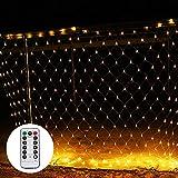 Shinoske LED Lichternetz Netz Lichterkette 3 x 2 m mit Fernbedienung 8 Modis Warmweiß für Weihnachten, Hochzeit, Party, Innen und Außen Warme Farbe