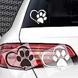 BLOUR Neue süße Hundepfote Pfirsich Herz Auto Aufkleber Cartoon Tier Adopt Hund Katze Liebe Haustier Auto Aufkleber 3D Tier Hund Fußabdrücke Fußabdruck