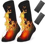EDUPUP Beheizte Socken, Elektrische Heizsocken für Herren Damen, Winter Warme Baumwollsocken für Outdoor-Sportarten - Camping, Angeln, Radfahren, Motorradfahren, Skaten und Skifahren (Black)