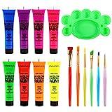 UV-Licht Bodypainting, Neon Schminke ETEREAUTY Körperfarbe Schwarzlicht fluoreszierende farbe Schminke 8 x 28 ml für Body und Facepainting
