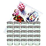 MamboCat 25er Set Sturzglas 125 ml Marmeladenglas Einmachglas Einweckglas to 66 silberner Deckel incl. Diamant-Zucker Gelierzauber Rezeptheft