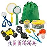FORMIZON Draussen Forscherset, 17 Stück Kinder Outdoor Exploration Spielzeug Lernspielzeug Adventure Set mit Fernglas, Kompass, Insektenzange, Geschenk für Camping Wandern Pretend Play