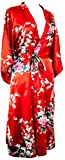 Kimono robe long 16 Colors Prämie peacock Bridesmaid bridal shower womens Gift one Size (Rot)