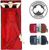 Miqio® 2in1 Baumwoll-Hüttenschlafsack mit durchgängigem Reißverschluss (Koppelbar): Leichter Komfort Reiseschlafsack und XL Reisedecke in Einem - Sommer Schlafsack Innenschlafsack (Rot, Links)