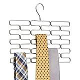 mDesign Krawattenhalter – Edler Krawattenbügel für mindestens 23 Krawatten – Praktisches Kleiderschrankzubehör für platzsparende Krawattenaufbewahrung – chromfarben