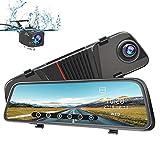 AWESAFE Rückspiegel Dashcam 1080P 10 Zoll Vorne und Hinten Autokamera mit 170 Grad Weitwinkel, unterstützt WDR Nachtsicht Parkmodus Bewegungserkennung Loop-Aufnahme G-Sensor