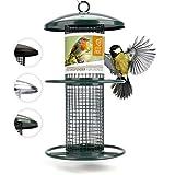 wildtier herz | 26cm Vogelfutterspender grün - 5 Jahre Garantie – aus rostfreiem Metall, Vogel Futterstation, Futtersäule, Nüsse Erdnüsse, Wildvögel Futtersilo