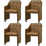 Festnight 4er-Set Essstühle Esszimmerstühle mit Armlehnen Esszimmersessel Küchenstuhl Kunstlederbezug Stuhl-Set 59x57,5x86,5cm Braun