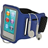 igadgitz U2045 Reflektierende Anti-Rutsch Neopren Sports Armband Oberarmtasche Kompatibel mit Apple iPod Nano 7. Gen - Blau