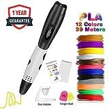 3D Stifte für kinder, Fede 3D Druckstift mit 12 Stücke 1,75 mm PLA Filament, 12 Farben, 3D Druckstift mit PVC Zeichenbrett + Zeichenschablone, einschließlich 8 Muster für Jung und Alt