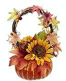 Flair Flower Arrangement aus künstlichen Sonnenblumen im Kürbis Kunstblume Kunstpflanze Deko Herbstdeko Herbstblumen Seidenblumen Gesteck Tischdeko Halloween, gelb/orange, 27x16x16 cm