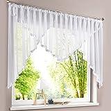 HongYa Kuvertstore transparenter Voile Gardine mit Satinbänder Kräuselband Vorhang H/B 145/300 cm Weiß