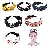 6 Stück Damen Stirnbänder Breit Haarbänder Turban Verknotet Vintage Lässige Bow Knot Haarschmuck, Boho im Retro Style Haarband Make-up