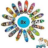 8x Fingerskateboard Set | Set aus gemischten Fingerskateboards in verschiedenen Designs | Spielspaß garantiert | auch ideal geeignet für den Kindergeburtstag als Mitgebsel oder Gastgeschenk für Kinder