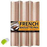 COSYLAND Baguette-Backblech Baguetteblech für 3 Baguettes Baguetteform mit Antihaftbeschichtung für Backen Karbonstahl