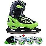 Cox Swain 2 in 1 Kinder Skates-/Schlittschuh -Blake- LED Leuchtrollen, ABEC 7 Carbon Lager, Schwarz/Grün, XS (29-32)