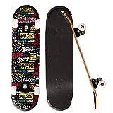 ioutdoor Skateboard Komplettboard 79x20cm Holzboard für Anfänger, Kinder und Erwachsene (Musik)