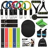 MIBOTE 22 Pack Widerstandsbänder Set Fitnessbänder, 5 stapelbare Übungsbänder, 5 Schlaufenwiderstandsbänder, 2 Kerngleiter - Türanker, Griffe, Knöchelriemen, Tragetasche, Sofortkühltuch