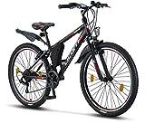 Licorne Bike Premium Mountainbike in 26 Zoll - Fahrrad für Mädchen, Jungen, Herren und Damen - Shimano 21 Gang-Schaltung - Guide - Schwarz/Rot/Grau