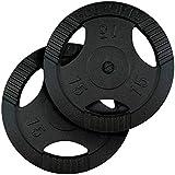 ScSPORTS Hantelscheiben mit Griffen 5 kg 10 kg 20 kg 30 kg 40 kg Gewichtsscheiben 30 mm Gusseisen Hammerschlag / 2X 15,0 kg