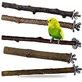 Descena 5 Vogel-Natur-Sitzstangen (18-26 cm): Vogelkäfig Zubehör | Natur Sitzstangen | Vogel Sitzstangen | Wellensittich Zubehör | Wellensittich Spielzeug | Sitzstange für Vogelkäfig groß und klein