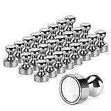 Temporaryt 24 Stück Magnete, Metall Magneten 12 x 16mm - Edelstahl Kegelmagnete Pinnwand Magnete für Magnettafel, Whiteboard, Kühlschrank usw. mit Aufbewahrungs Box