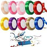 ZHOUZHOU 10 Stück Satinband,10mm Breit geschenkband Satin,Geschenkband Set Schleifenband bastelband Ringelband für Weihnachten Geschenkverpackung Hochzeit und Weihnachtsdekoration Party