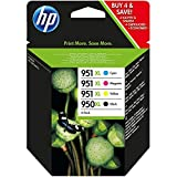 HP 950XL/951XL Multipack Original Druckerpatronen (Schwarz, Blau, Rot, Gelb) mit hoher Reichweite für HP Officejet Pro 276dw, 8600, 8610, 8620, 251dw, 8100