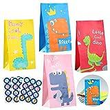 ZITFRI Papier Geschenktüten Dinosaurier Partytüte Bunte Papiertüte 28 Mitgebsel Tüten mit 48 Dino Aufkleber Papier Tüten für Kindergeburtstage Jungen Mädchen, Mitgebsel, Giveaways, Hochzeit, Party