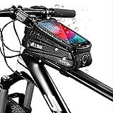 Fahrrad Rahmentasche, Oberrohrtasche wasserdicht mit TPU Touchschirm und Kopfhörerloch für Handyhalterung, Handy GPS Navi, 6,5 Zoll